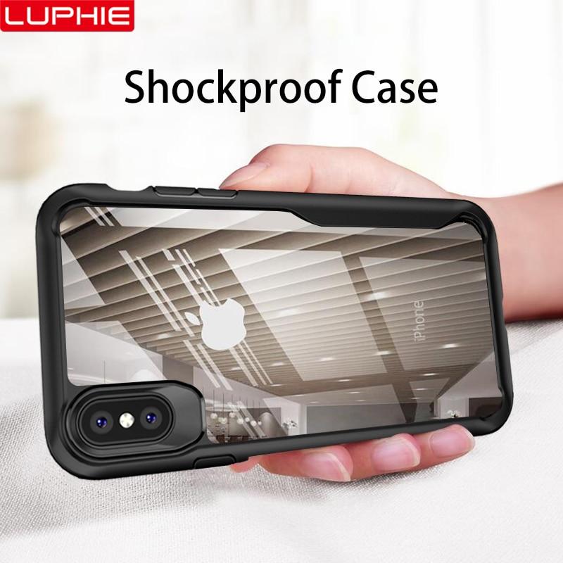 LUPHIE armure antichoc étui pour iPhone XS XR 8 7 Plus housse étui transparent Pour iPhone 6 6 S Plus 5 XS Max De Luxe coque en silicone