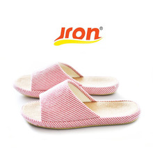 Jron 2017 Spring Autumn Toes Exposed Stripe Woman Slippers Concise Household Linen Lining Slippers Anti-slip Indoor Slippers