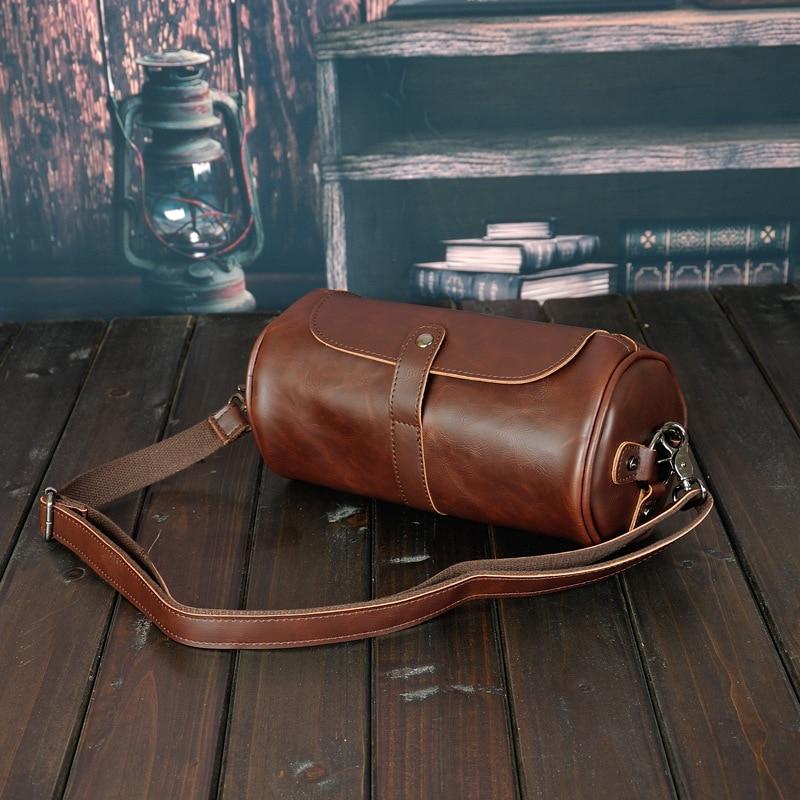 Famous Brand Leather Men Bag Casual Business Leather Mens Messenger Bag Vintage Men's Crossbody Bags Male Cylinder Bags