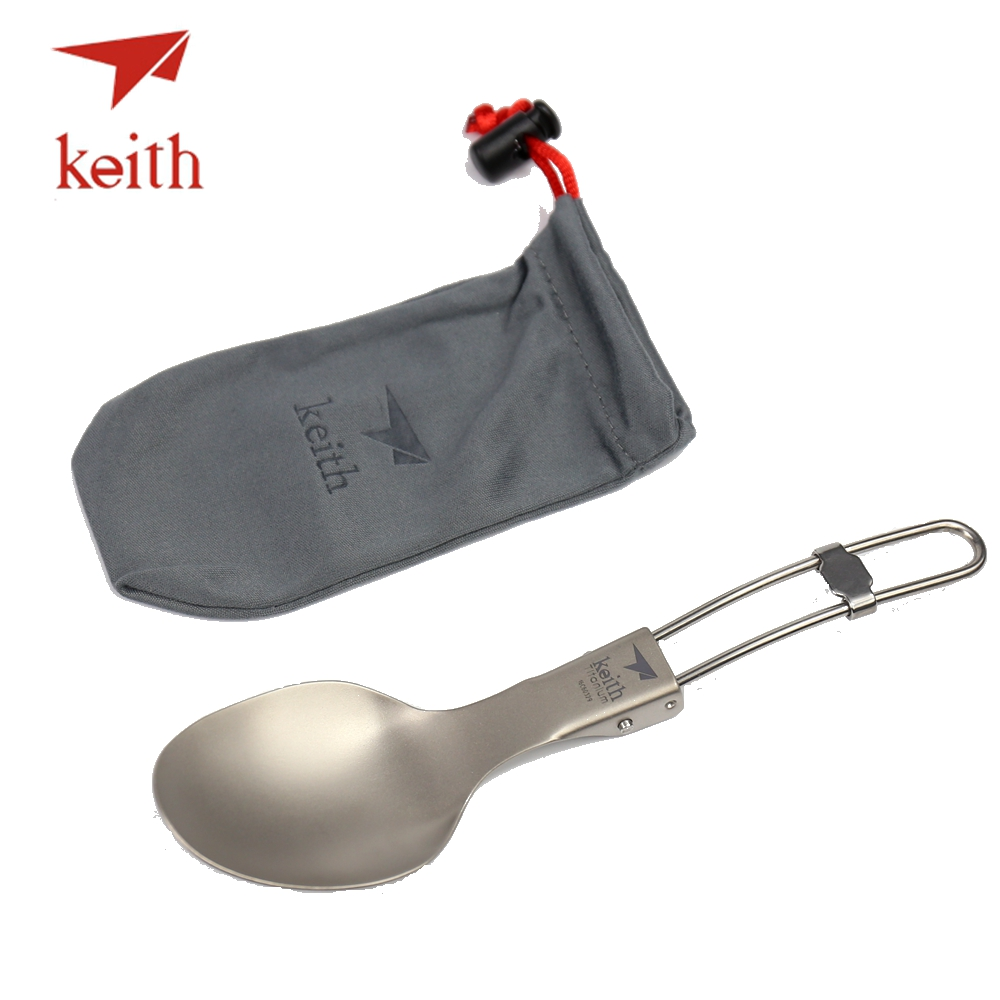 Keith Titanium Folding Spoon Portable Outdoor Camping Cutlery Travel Tableware Picnic Hiking Convenient Titanium Spoon Only 20g цена