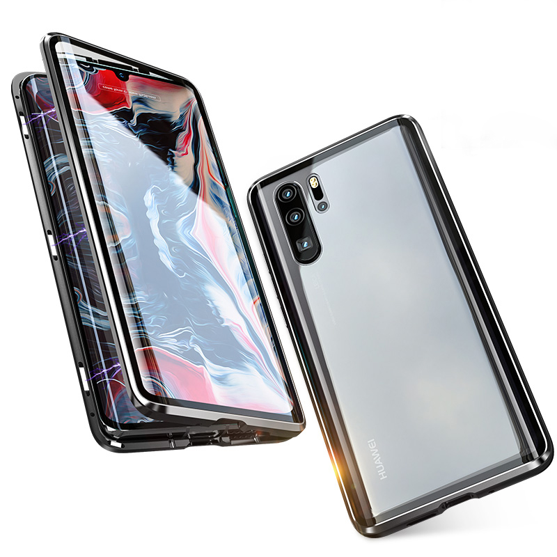 Luxury Full Body Protective Magnetic Case For Huawei P30 Pro Case 360 Transparent Tempered Glass Back Cover Huawei P30Pro Case in Fitted Cases from Cellphones Telecommunications
