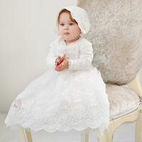 Long Sleeve with Hat White Extra Long Christening Dress Lace Baptism Baby Girl Dress for Party and Wedding Anniversaire Fille