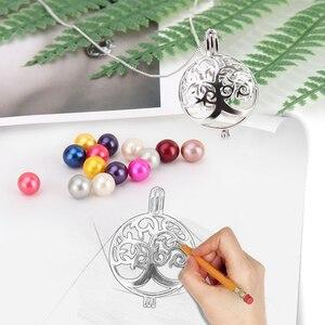 Image 5 - CLUCI 3 pièces rond argent arbre de vie femmes pendentif pour collier fabrication de bijoux 925 en argent Sterling perle pendentif bijoux SC303SB