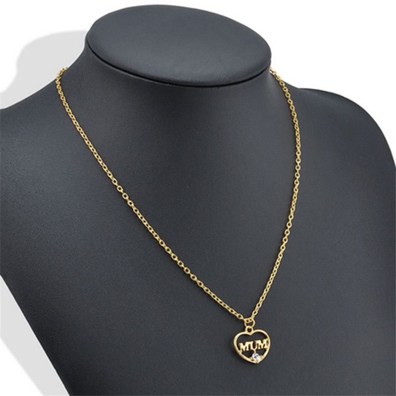 "ZN 2019 Gold Color Love ""Mum"" Crystal Heart Pendant Necklace Mother's Day Gifts for mother Sweater Chain Necklaces Best Gifts 31"