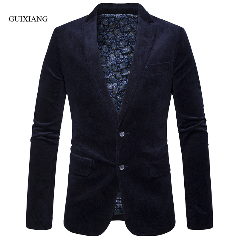 2019 new spring and autumn style men high quality blazer fashion casual corduroy multicolor two singlebreasted men's coat suits
