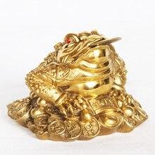 Sim lucky feng shui bronze três sapo pernecido, brinquedo abençoado, dinheiro da riqueza, estatueta de metal, presente de decoração de casa