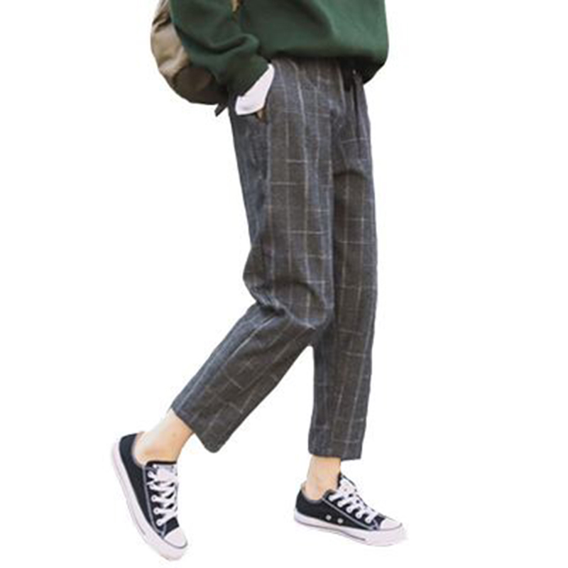Elegant Style Plaid Pants For Women Spring Casual Loose Elastic Waist Slim Trousers Harajuku Female Ankle-Length Harem Pants