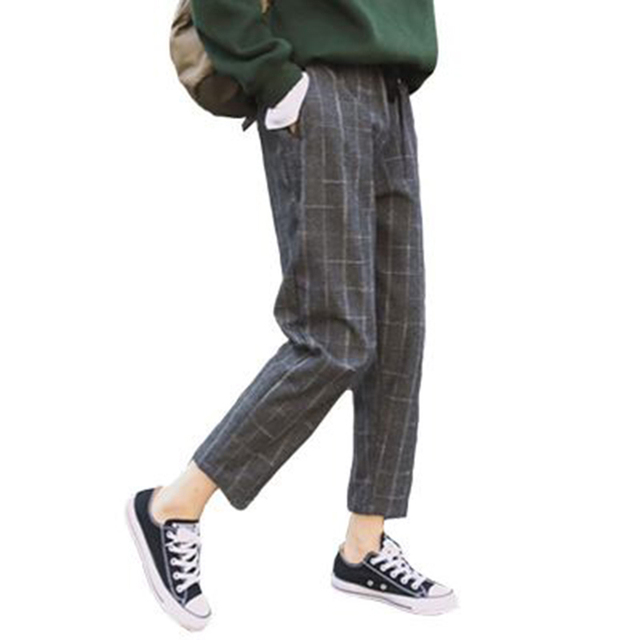 Elegant Style Plaid Pants For Women Spring Casual Loose Elastic Waist Slim Trousers Harajuku Female Ankle-Length Harem Pants