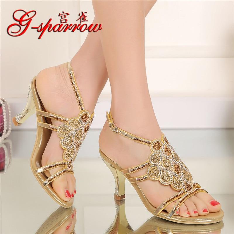 2017 Summer New Style Korean Ladies Fashion Shoes Large Sizes Crystal Diamond Open Toe High Heel Sandal