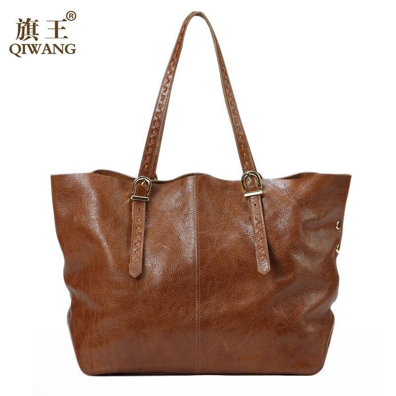 QIWANG Real Genuine Leather Women Handbags Genuine Leather Shoulder Bag Shopping Design Bag Large Fashion Purse for Women