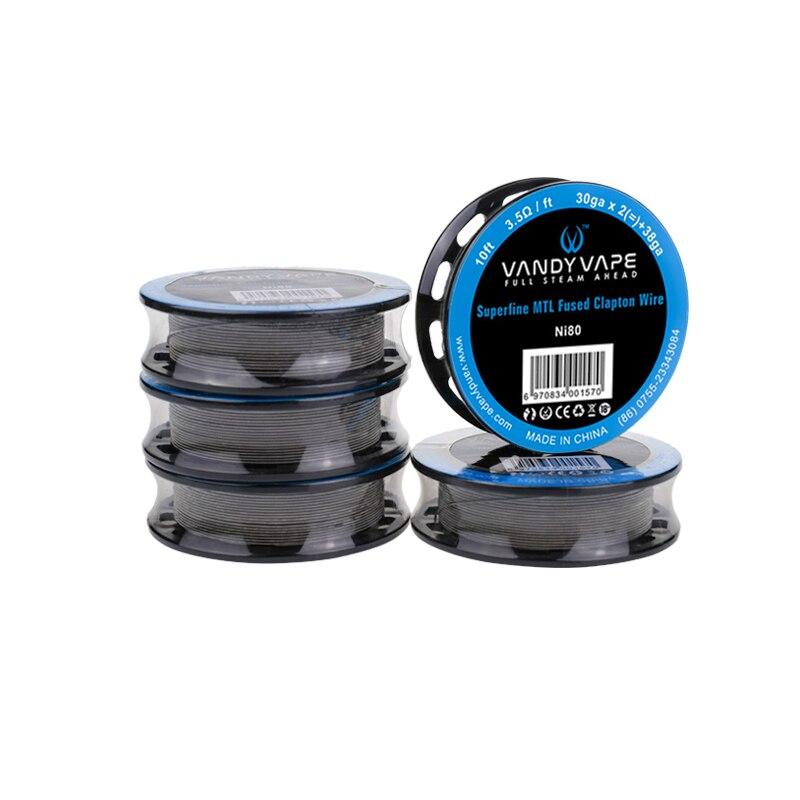 Original Vandy Vape Superfine MTL Fused Clapton Wire SS316L/Ni80 30gaX2(=)+38ga 10ft KA1/Ni80 32gaX2(=)+38ga Fit MTL RTA RDA
