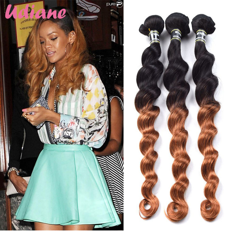 3pcs Ombre Loose Wave Hair 2 Tone 1b 30 Ombre Honey Brown