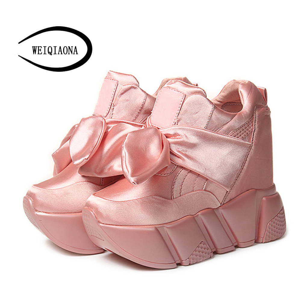 WEIQIAONA Within the increase in women's boots 2017 new noble Silk fabric tide High pine cake Bow tie Lightweight Casual shoes