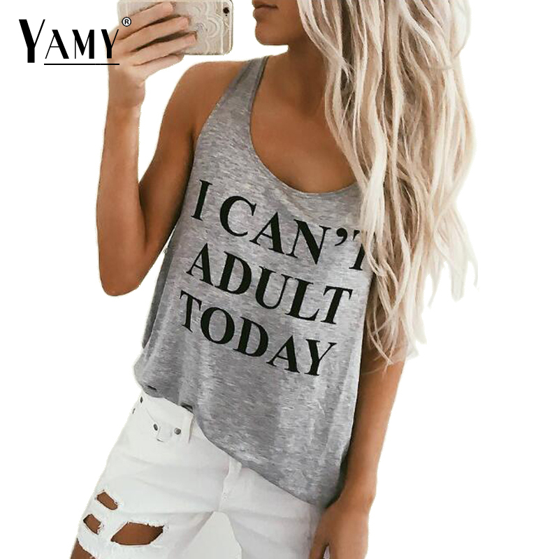 3 Colors I CAN'T ADULT TODAY Letters Printed Summer Tank Top Sleeveless O Neck Loose Top fitness Fashion Women Clothing Hot