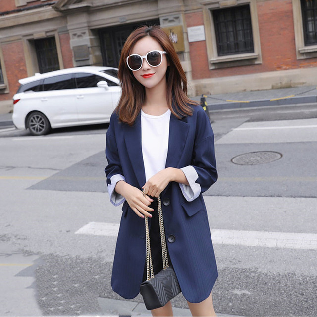 2018 Spring Autumn New Contrast Color Casual Women Blazer Coat Seven-point Sleeve Single Breasted Long Suit Jacket Female LQ183