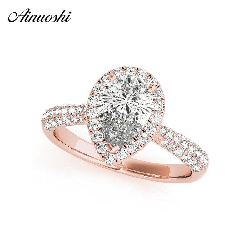 AINUOSHI 925 argent Sterling couleur or Rose poire coupe anneaux de mariage femmes fiançailles Halo bandes anneaux belle argent fête cadeaux