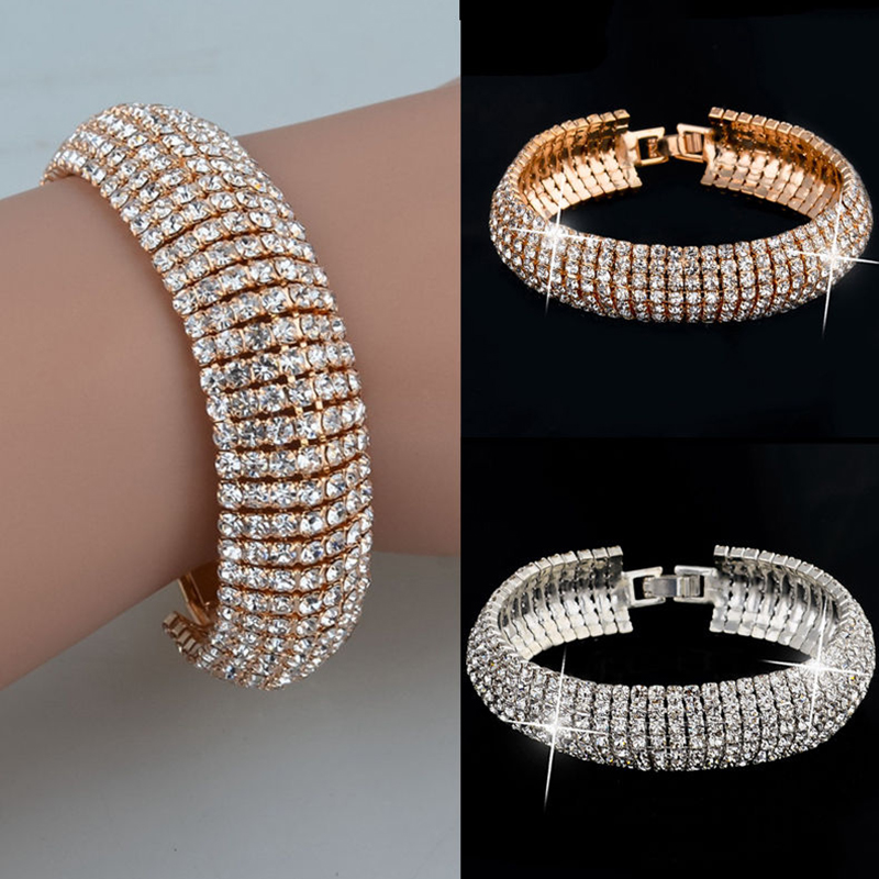Fashion 1pc Women Popular Golden Silvery Alloy Crystal Bracelet Bangle Jewelry Gift in Chain Link Bracelets from Jewelry Accessories