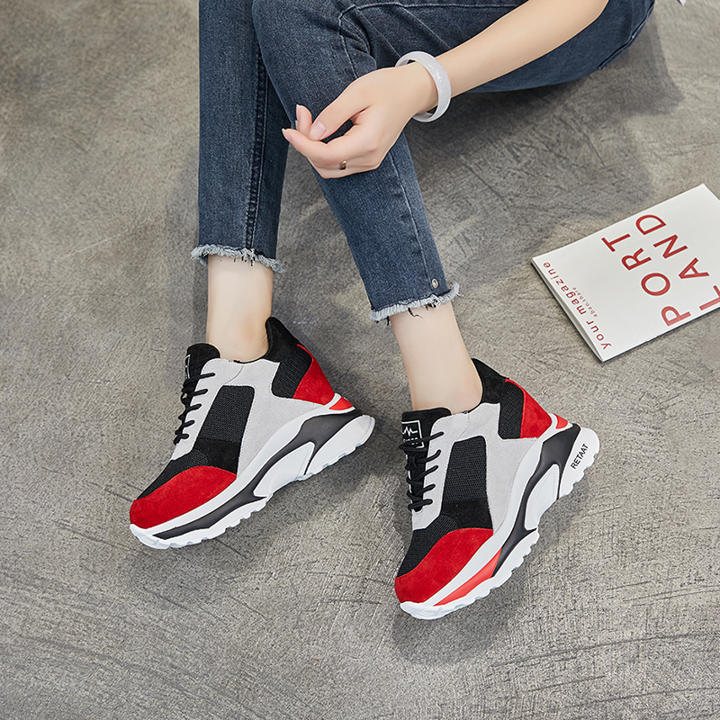 2018 New Shoes Women Sneakers Cow Suede High Heel 8cm Mixed Colors Leisure Platform Wedges Breathable Height Increase Shoes ad9957bsvz 9957 tqfp100