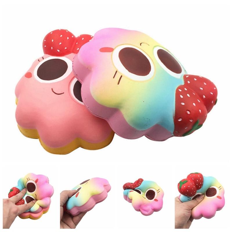 New Big Strawberry Expression Cake Slow Rebound Squishies Simulation Pu Bread Fun Kid Toys