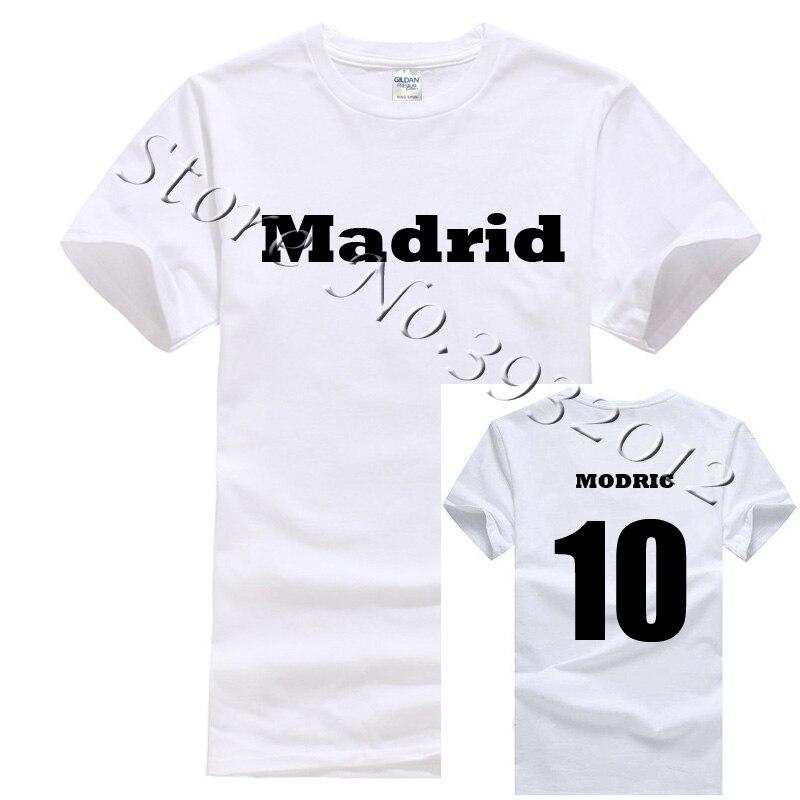 innovative design 0e30d db934 US $11.89 15% OFF 2018 Luka Modric No.10 Madrid Footballer Short Sleeve O  Neck Cotton White t shirt anthony davis jersey-in T-Shirts from Men's ...