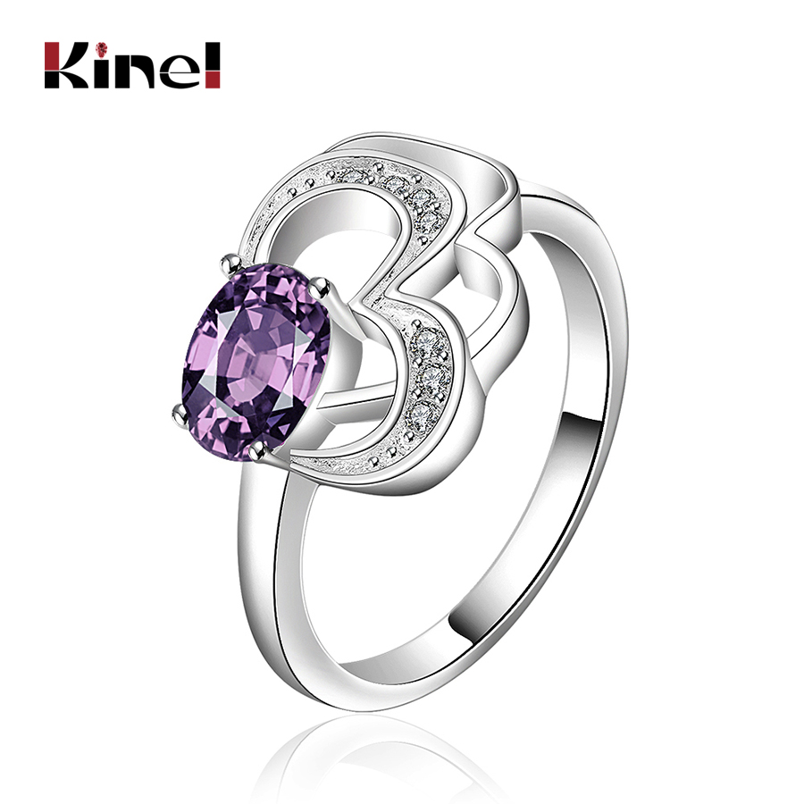 Kinel 2017 New Oval Purple zircon Ring For Women Silver