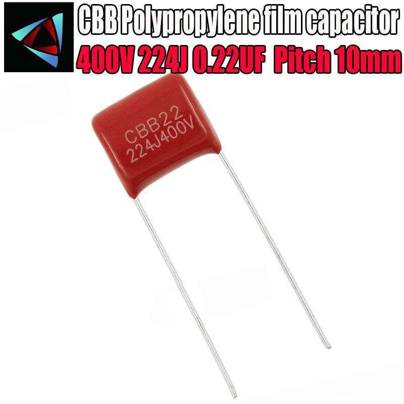 16PCS 400V 224J 400V 0.22UF 220NF 400V 224J 224 CBB P10 Polypropylene Film Capacitor