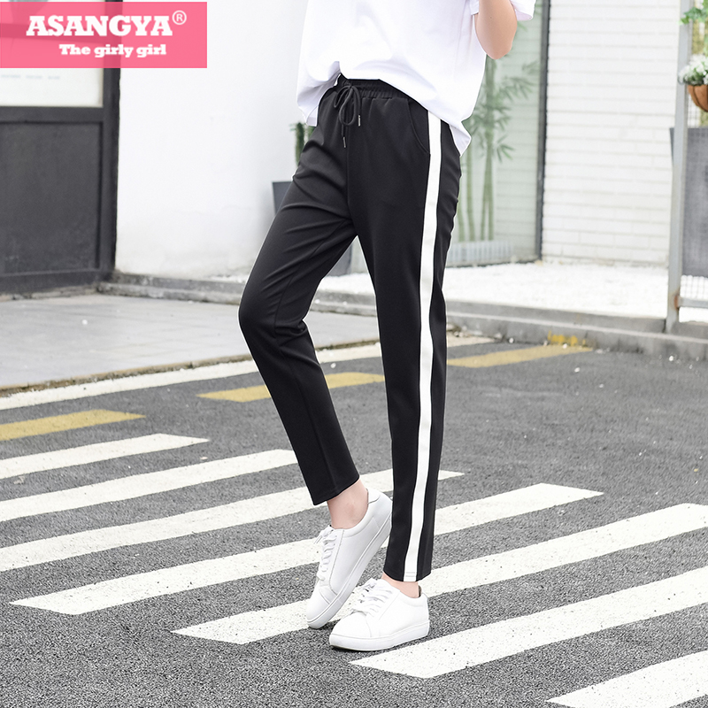 Black Gray White Striped Pants Sweatpants Women Side
