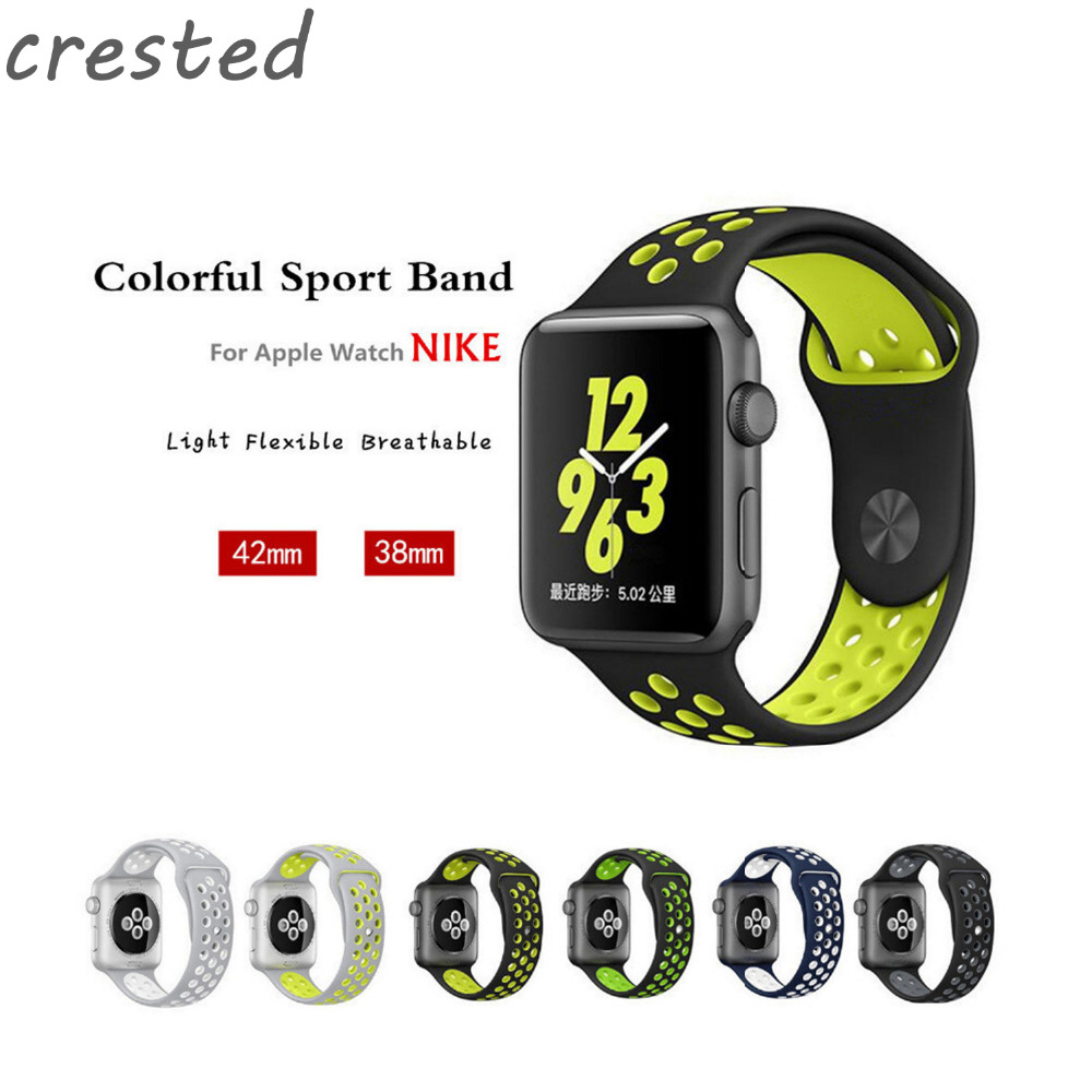 CRESTED Silicone sport band strap for apple watch 42mm/38 bracelet Silicone watchband With Adapter for iwatch 1/2/3 crested new arrival colorful silicone strap for iwatch 1 2 apple watch nike 42mm rubber sport bracelet wrist band with adapter