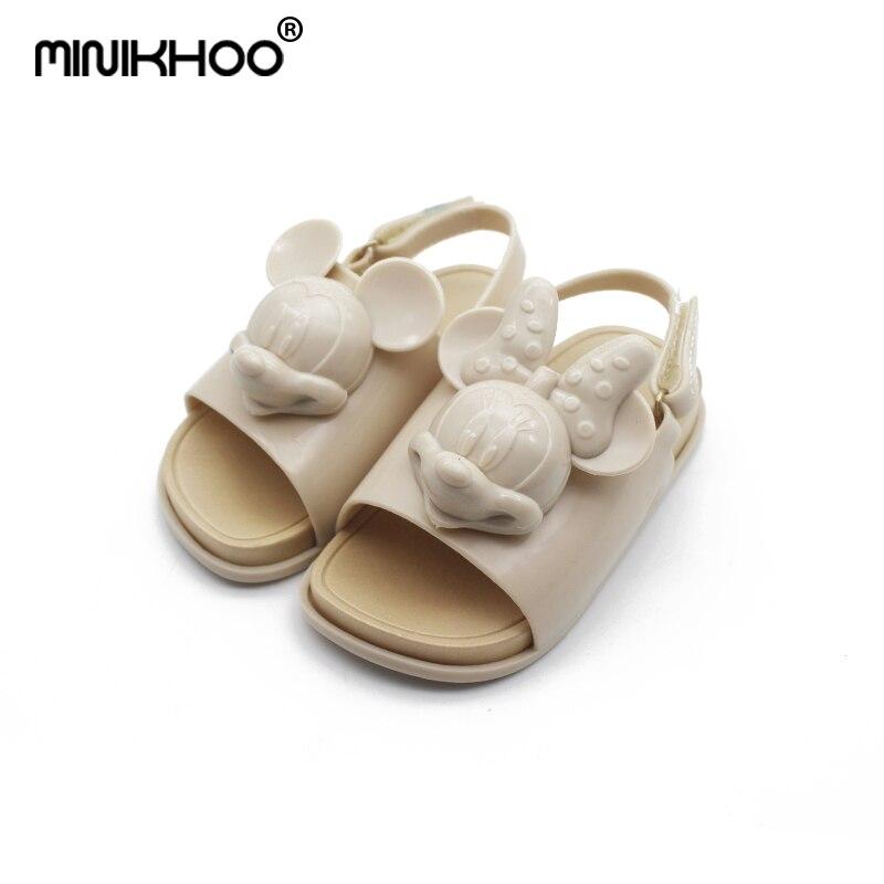 Mini Melissa 2018 New 1:1 Original Mickey Minnie Head Jelly Sandals For Girls Cute Baby Sandals Girls Shoes Beach Sandals Water