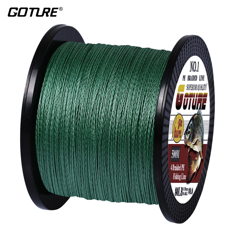 Goture 500M / 547Yds Multifilament PE Flettet Fiske Linje 4 Strenger Super Sterk Japan Linjeledning Wire Carp Fishing 6-80 LB