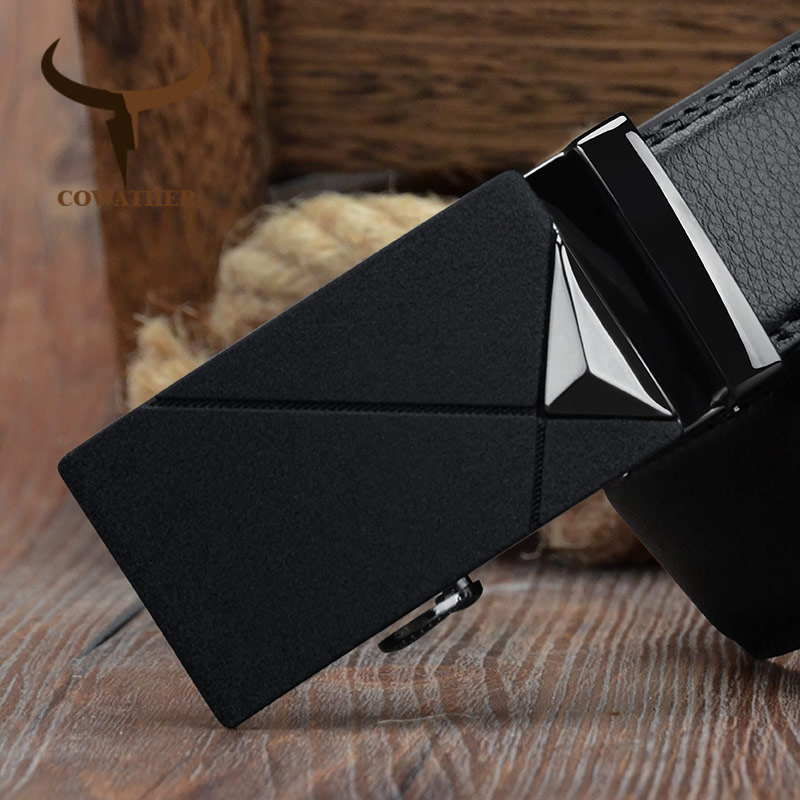 COWATHER Automatic Buckle   Belt   For Men Cow Genuine Leather Men   Belt   Alloy Buckle Male Strap Cowhide Straps Free Shipping CZ138