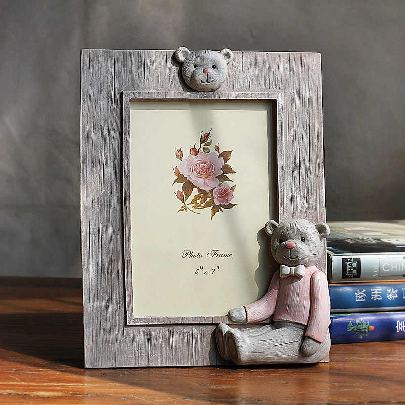Creative Cute Bear Decor Resin Photo Frames For Children Baby Home Decor Desktop Picture Frame Quality 1pcs Frames portaretrato