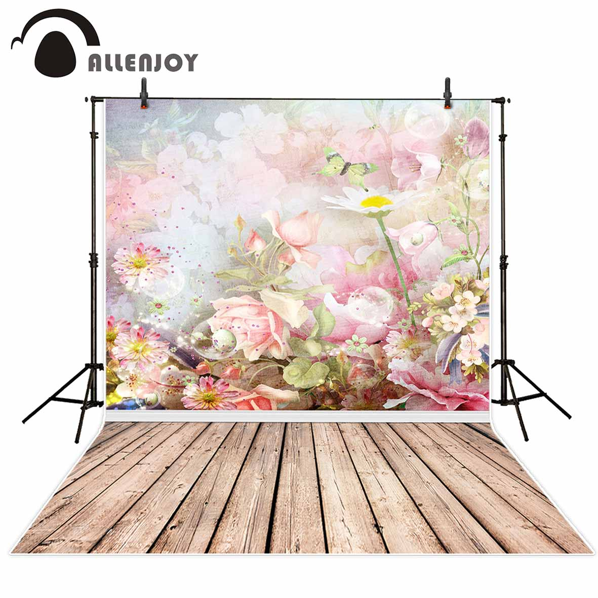 Allenjoy background for photo studio Butterfly Pink Flower Lovely Girl backdrop newborn original design photocall fantasy props allenjoy background for photo studio full moon spider black cat pumpkin halloween backdrop newborn original design fantasy props