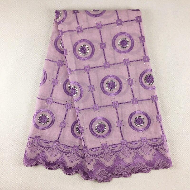 Высокое качество Африканский швейцарский хлопок вуаль Кружево, 807 сиреневый фиолетовый, бесплатная доставка 5Yds/Лот, 100% хлопок Свадебные Кру