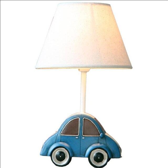 Lovely Cottage Creative Car Resin Fabric Led E27 Table Lamp for Children's Present Bedroom Light Adjustable 1711