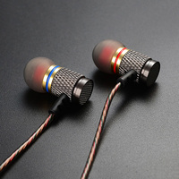 KZ ED2 Stereo Metal Earphones With Microphone Noise Cancelling Earbuds In Ear Headset DJ BASS Earphone