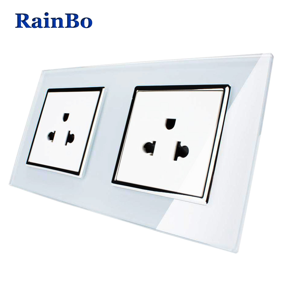 RainBo 2 Frame Wall US Standard Power Socket  Glass Panel Wall Power Smart Outlet Socket  Free Shipping A28A8AW/B scinder switched socket package 15 steel frame two or three five hole electrical outlet wall switch panel switch