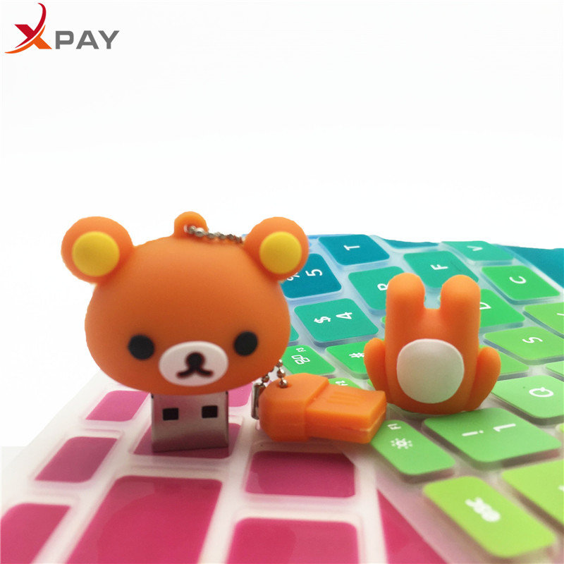 Image 3 - USB 2.0 Lovely Cartoon Bear Pendrive 128GB 64GB 32GB 16GB 8GB 4GB USB flash memory stick Pen Drive Silicone flash disk for gift-in USB Flash Drives from Computer & Office