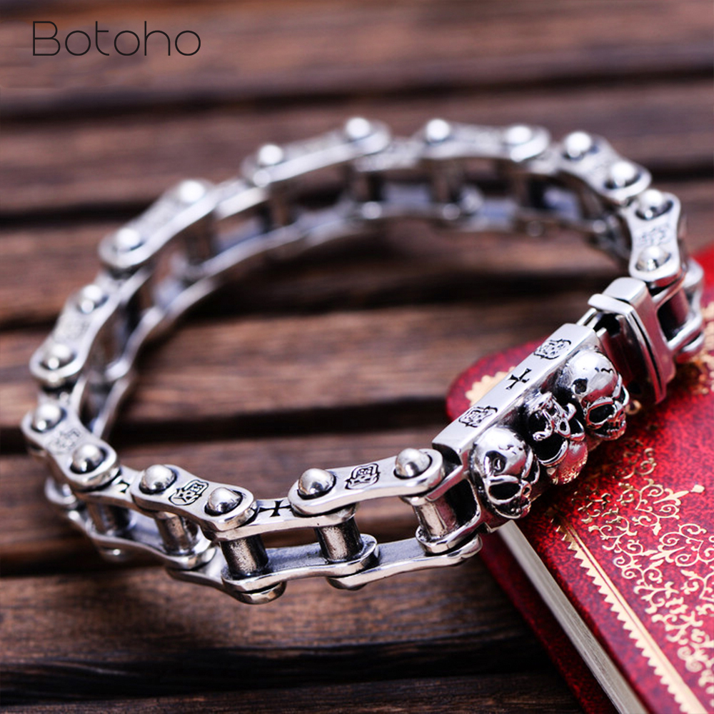 Solid 925 Sterling Silver Locomotive Bracelet for Biker Men's Punk Rock Men's Thai Silver Skull Bracelet Fashion Jewelry Gifts solid 925 sterling silver flower fashion charm biker bracelet bangle 9a017