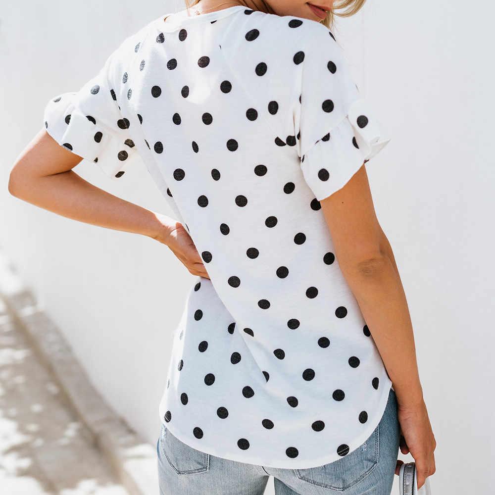 Women's Polo Shirt Women Lady O-Neck Printing Dot Short Sleeve Half Loose Shirt Tops  Loose chiffon polka dot polo shirt