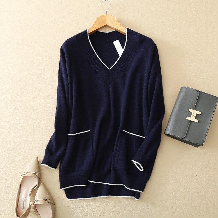 Style Côtés Lâche Une 100 Manteau Cachemire Large Femmes Pull Patchwork Mode Taille Couleur Tricot Chandail Chèvre M De UPqU6