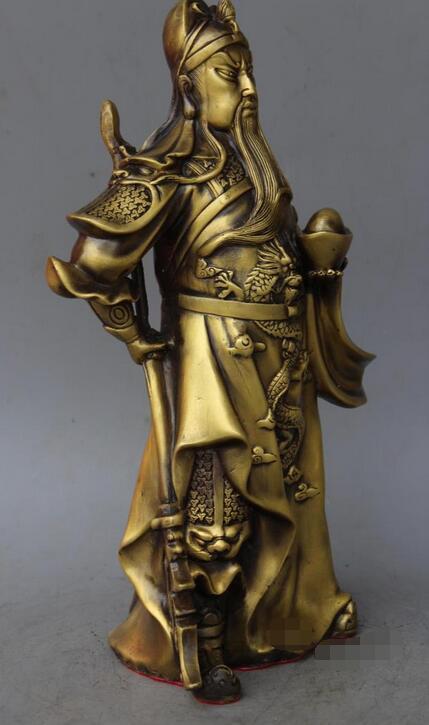 Chine chinoise Fengshui pur laiton Guan Yu yuanbao guerrier bouddha Sculpture.