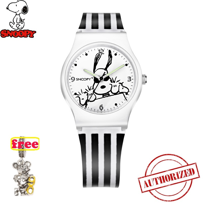 Genuine Snoopy Kids Watches Fashion Women Watch Men Watches Cute Casual Quartz Wristwatches Rubber Watch Water Resistant Snw774