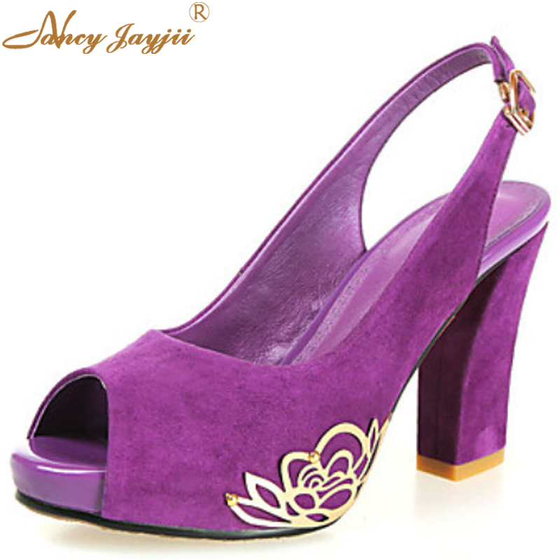 ФОТО BC Women Purple Suede Pointed  Toe Root High Heels Ankle Buckle Basic Pumps Shoes For Woman, ,Dress&Career&Office,Plus size 4-16