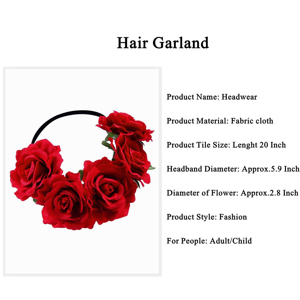 Okdeals 1PC Fashion Bohemia Style Rose Flower Headbands Floral Crown Hairband Wedding Hair Garland Bridal Girls Hair Acessories 2