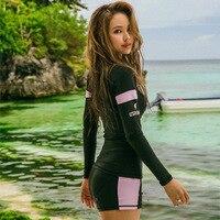 2019 Zipper Lint Long Sleeve Sun Biquinis Mayo Bayan Rash Guard Women Surf Swimwear Girl Swimsuit For Surfing Bikini Top Push Up