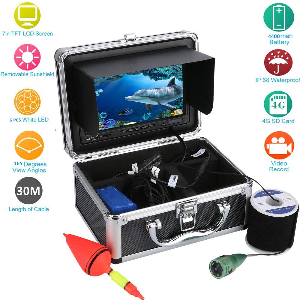 ¡Envío Gratis! 7 pulgadas DVR grabador 1000tvl vídeo de pesca submarina Cámara Kit Video buscador de peces cámara de peces bajo el agua