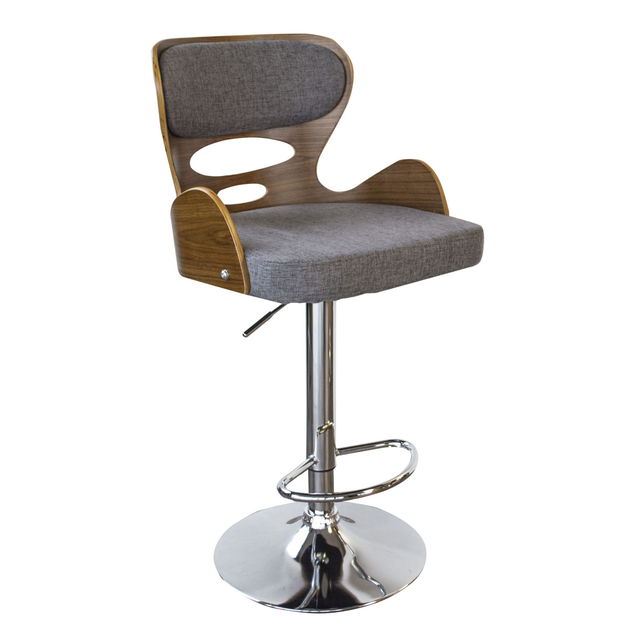 AmeriHome Bent Wood Pebble Fabric Bar Stool ...