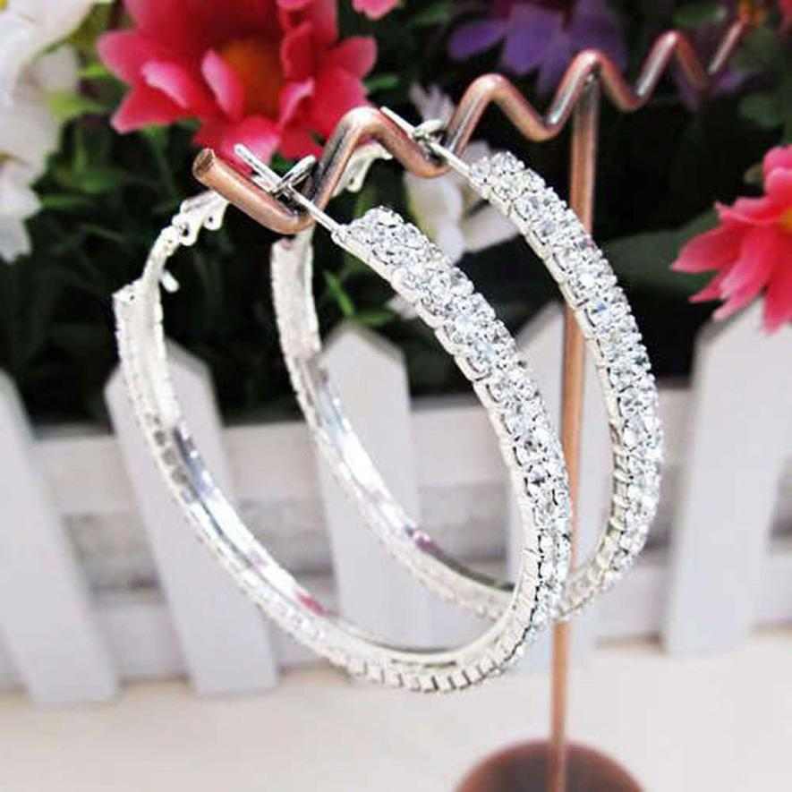 OTOKY 1 Pair Double Row Rhinestone Luxury Crystal Hoop Earrings Double Rows Basketball Wives Large Hoop Earrings Dropship Mar27