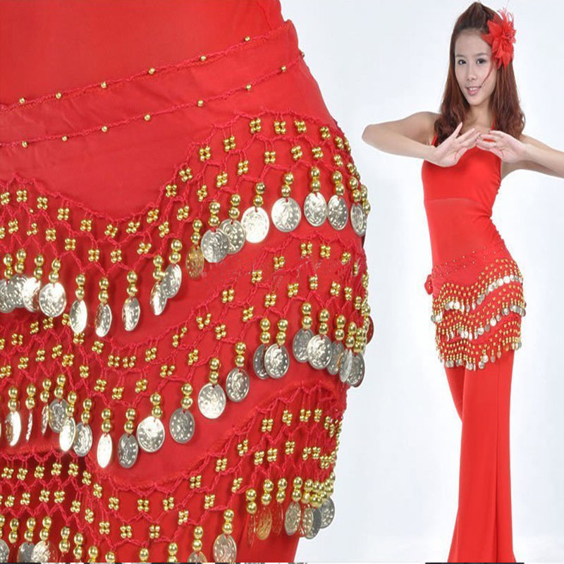 New Arrivals Chain Fancy With Woman Golden 3 Fashion Dancing Skirt Coin Hip Silver Rows Ladies Chiffon Belly Dance Belt Scarf